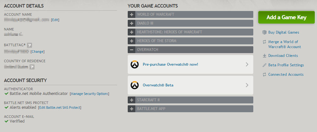 BNet Account Settings